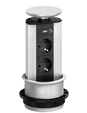 EVOline Power Port 3fach Steckdosenelement versenkbar Inselsteckdose silber